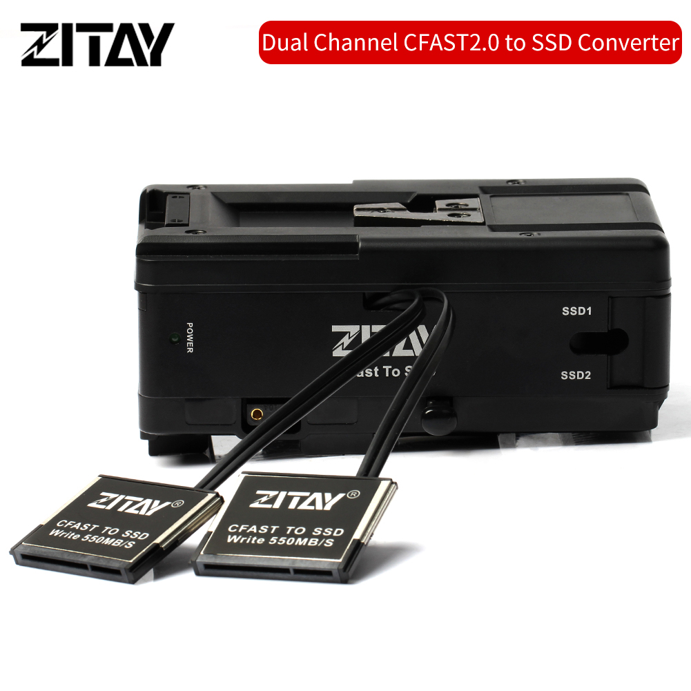"ZITAY  Dual CFast 2.0 to 4TB  2.5"" SATA III SSD  Adapter for Blackmagic URSA Mini 4K 4.6K with V Mount Plates"