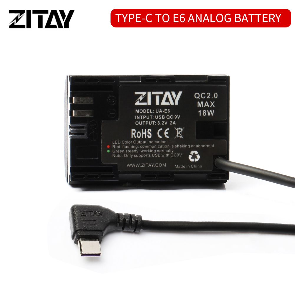 ZITAY Type C USB to LP-E6 Dummy Battery
